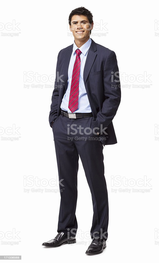 Businessman Standing With Hands In Pockets - Isolated royalty-free stock photo