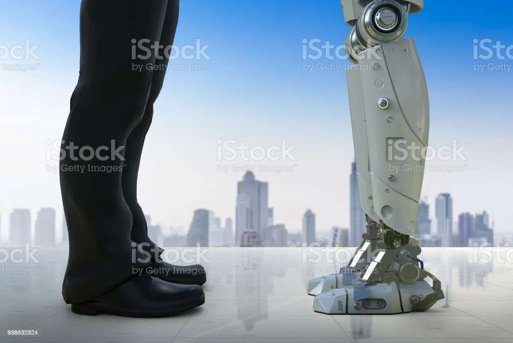 businessman standing with robot stock photo