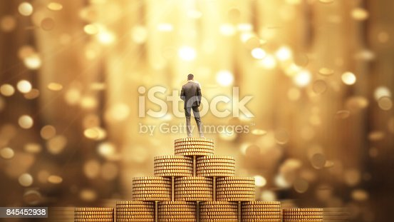 969671638istockphoto Businessman Standing with Umbrella Under the Money Rain 845452938