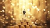 istock Businessman Standing with Umbrella Under the Money Rain 845452938