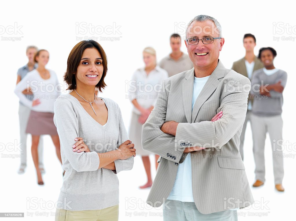 Businessman standing with young woman royalty-free stock photo