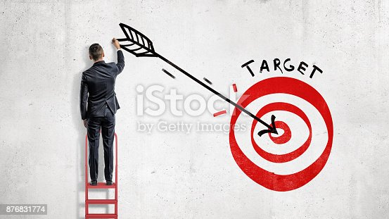 istock A businessman stands and draws on the wall a big arrow in the center of a red archery target. 876831774