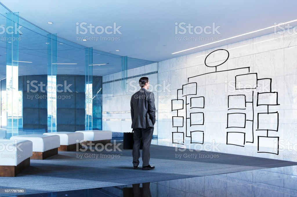 Businessman Stands In Lobby Looking At Flow Chart stock photo