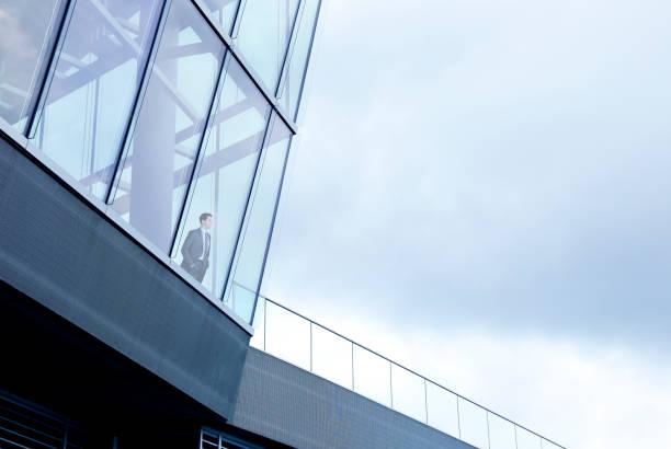 affärsman står inuti byggnaden och ser ut genom fönstret - fönsterrad bildbanksfoton och bilder