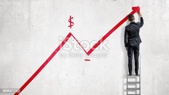 istock A businessman stands on a step ladder and draws a red statistic arrow moving up with a dollar sign 899051242