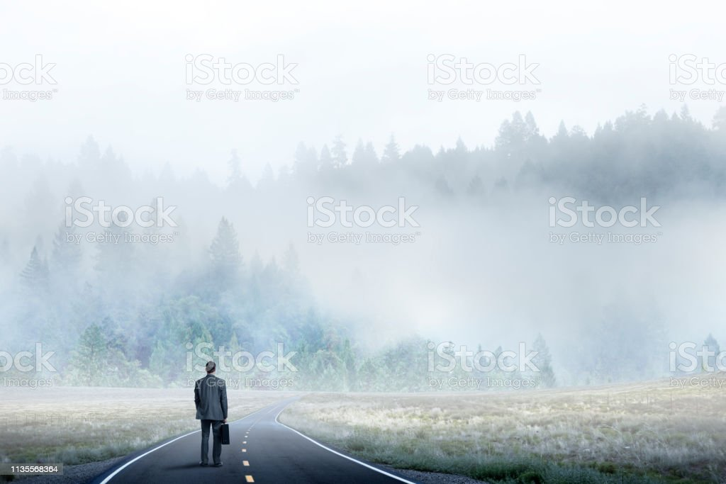 Businessman Stands On Long Road Looking Toward Mist Covered Forest stock photo