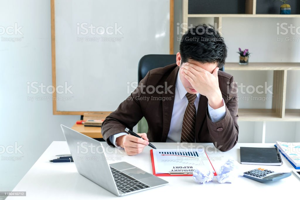Businessman strain from work and business stresses fail.