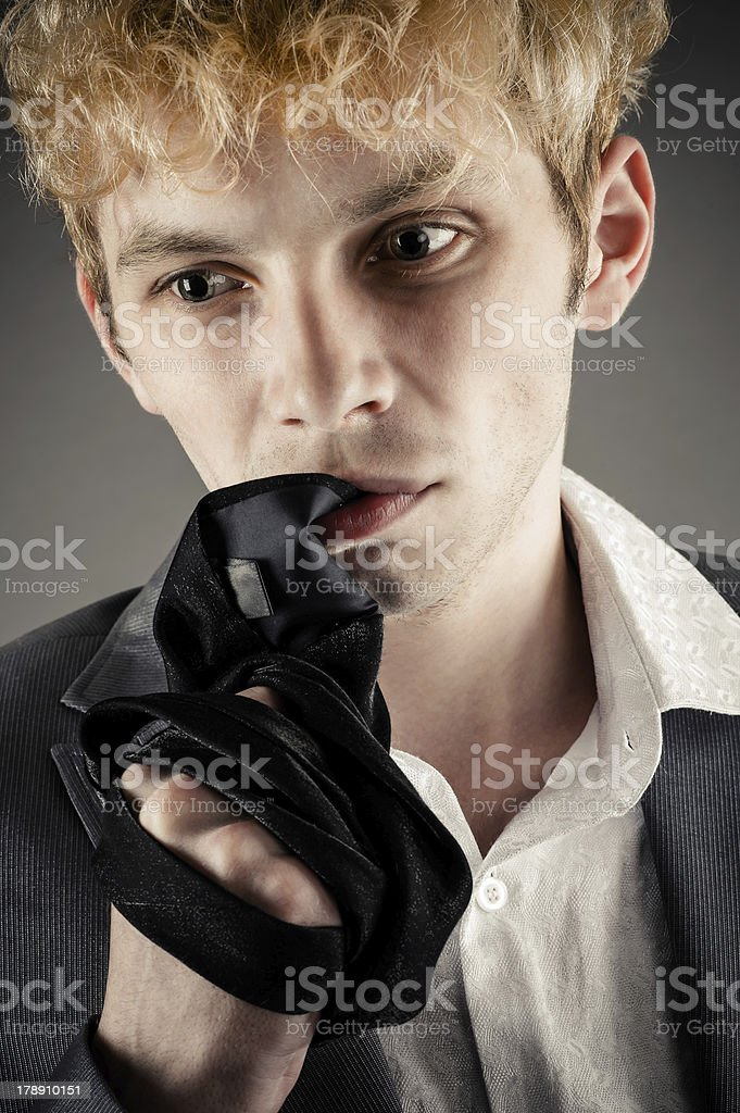 businessman strongly is nervous royalty-free stock photo