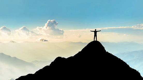 Businessman Success Raising Arms Stand On Top Of Hill Stock Photo - Download Image Now