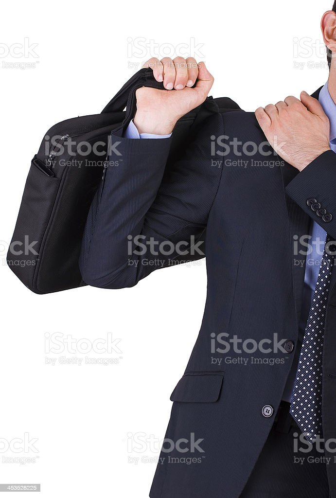 Businessman suffering from shoulder pain. royalty-free stock photo