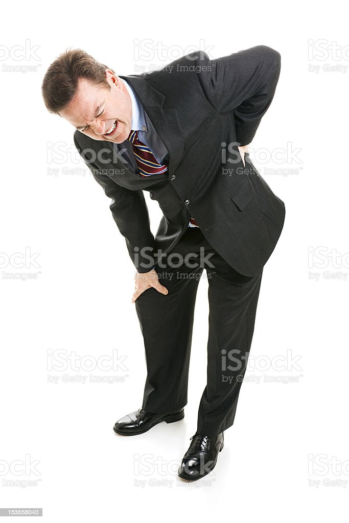 Businessman Suffers with Back Pain royalty-free stock photo
