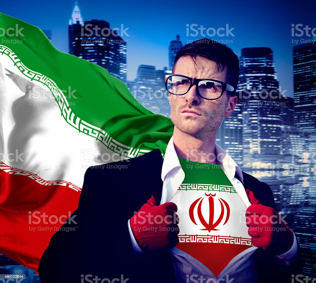 Businessman Superhero Country Iran Flag Culture Power Concept stock photo