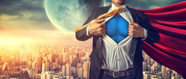 Geschäftsmann Superheld. Mischtechnik – Foto