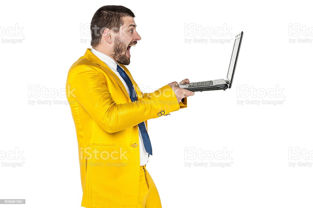 businessman surprised content that can be found on the internet stock photo