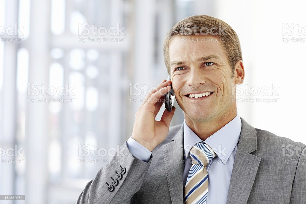 Businessman Talking on a Cellphone royalty-free stock photo