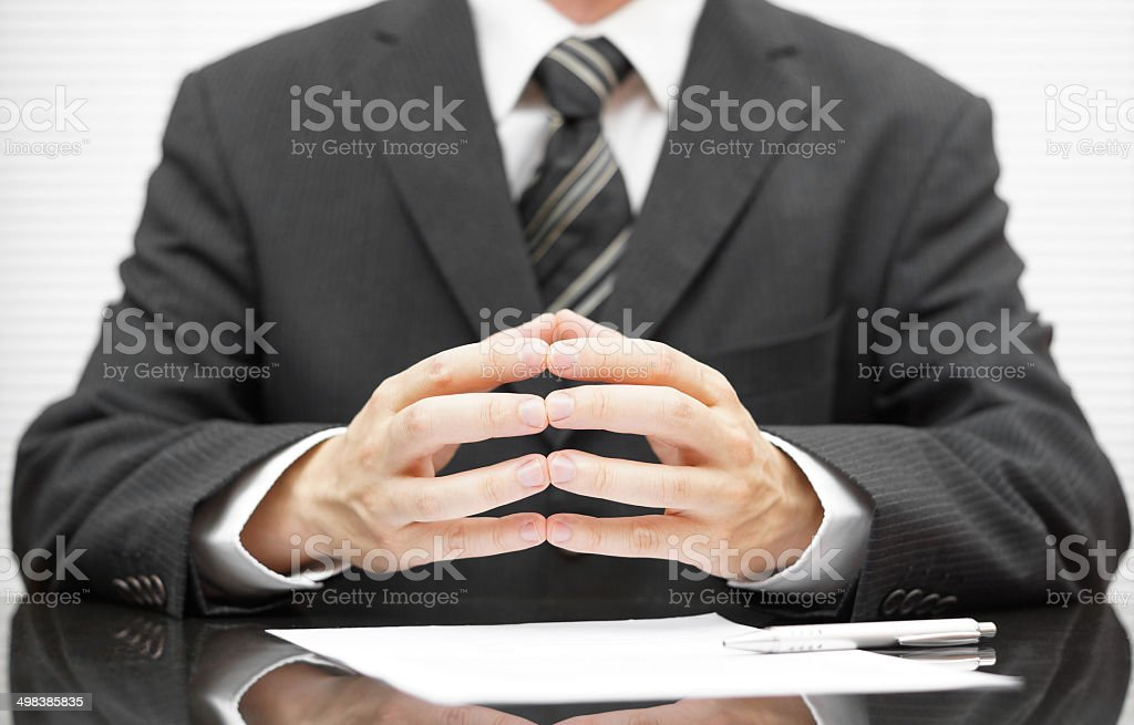 businessman talking on business meeting stock photo