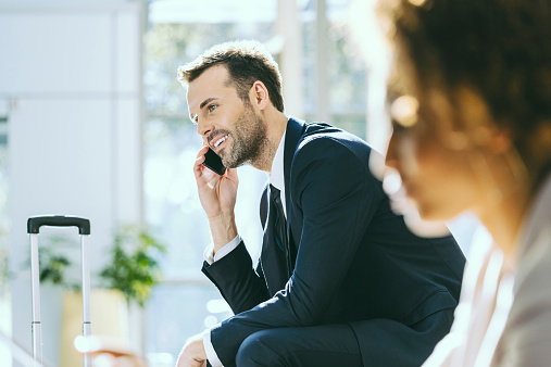 Businessman Talking On Cell Phone Stock Photo - Download Image Now