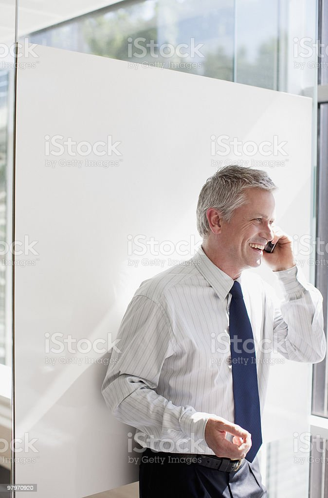 Businessman talking on cell phone royalty-free stock photo
