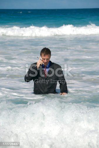 istock Businessman Talking on Mobile Phone from the Sea 172725437
