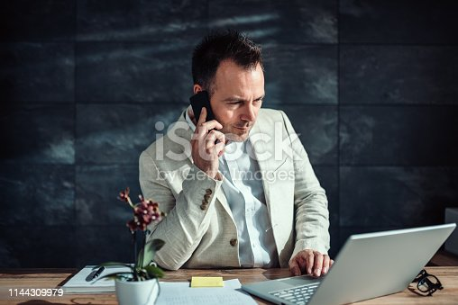 913346608 istock photo Businessman talking on smart phone and using laptop 1144309979