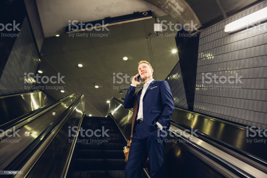 businessman talking on the cell phone stock photo