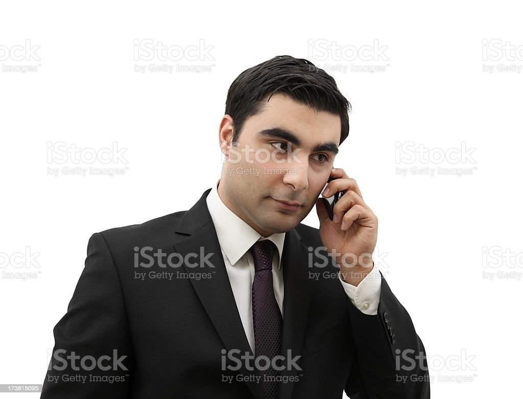 """Businessman Talking On The Cell Phone """"Businessman talking on the cell phone, isolated on white background."""" Adult Stock Photo"""