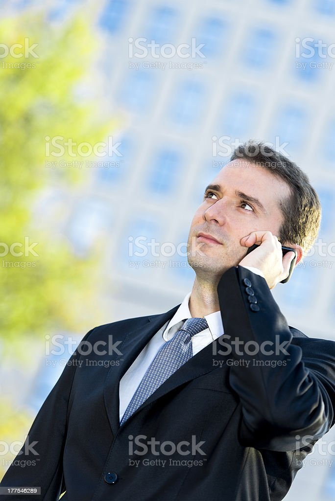 Businessman talking on the cell phone royalty-free stock photo