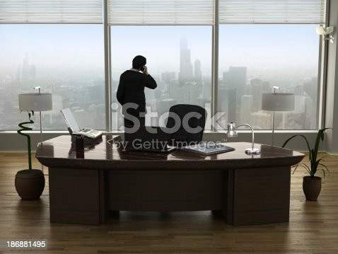 Chief executive officer (CEO) of a company talking on the phone in his room staring outside the window. Business concept.Similar images: