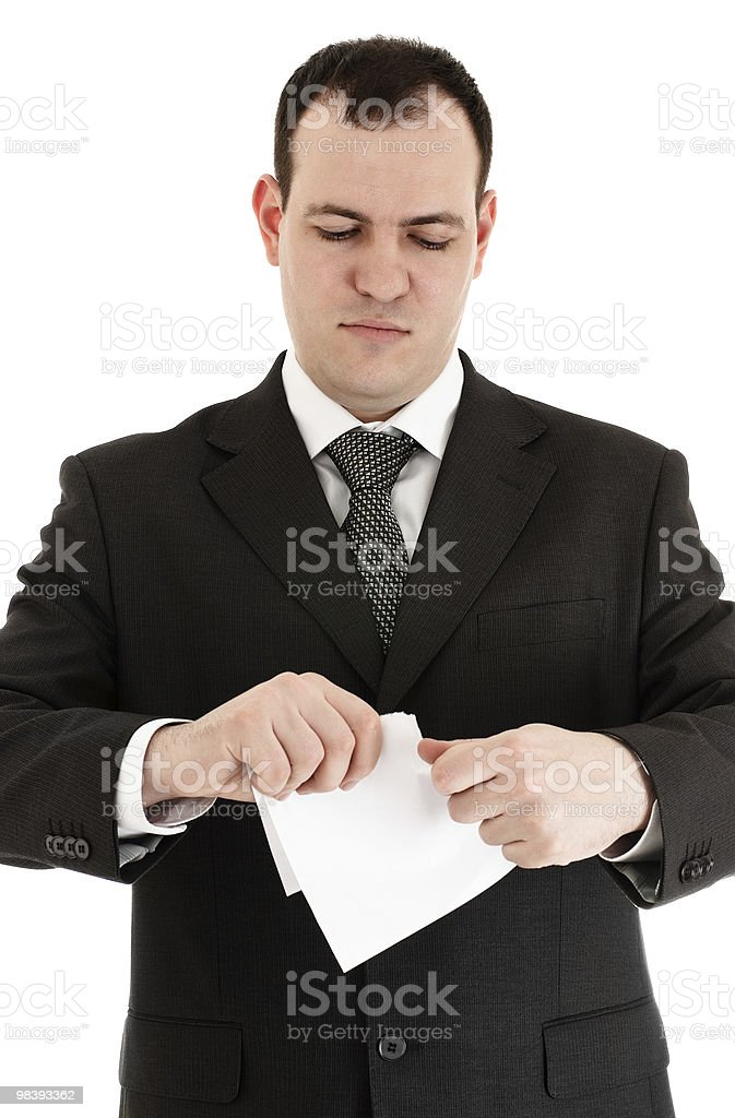 businessman tear paper royalty-free stock photo
