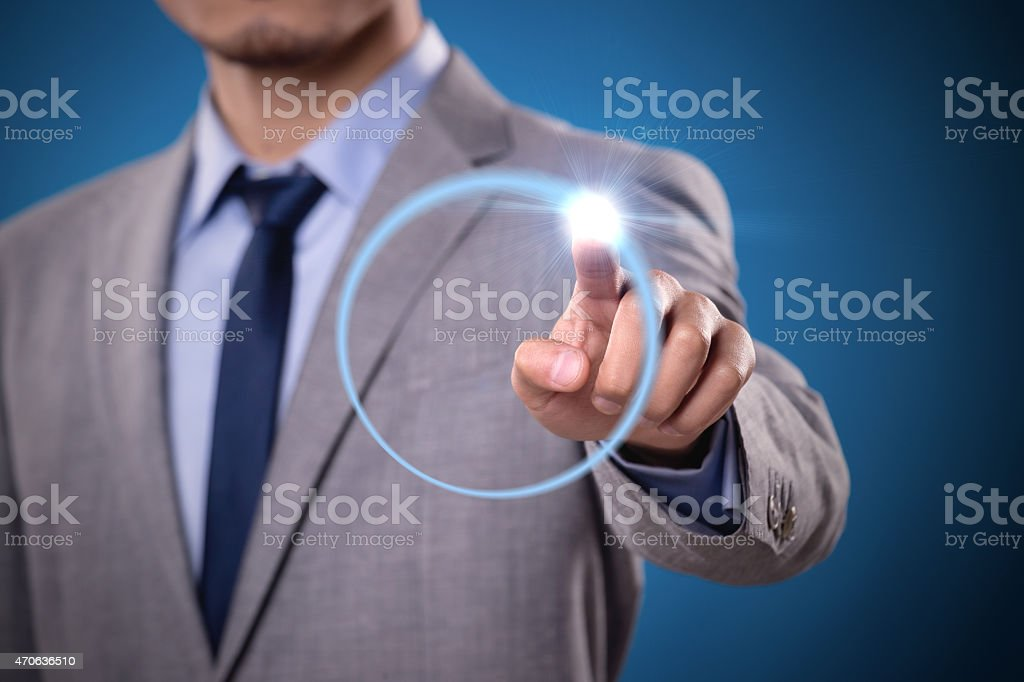 Businessman technology touch stock photo
