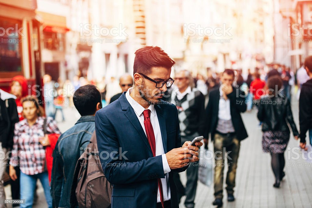 Businessman Texting stock photo