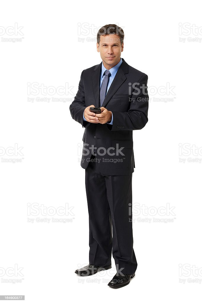 Businessman Texting with Mobile Phone Isolated on White Background royalty-free stock photo