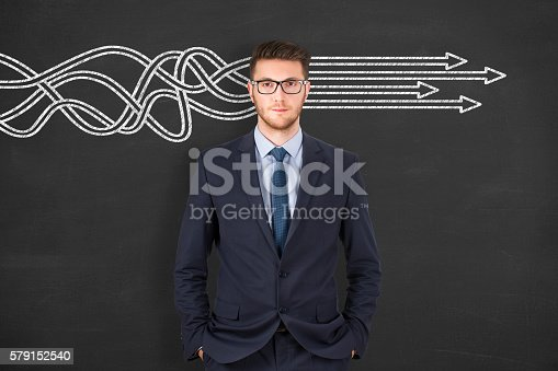 istock Businessman thinking about structuring business process and solutions concept 579152540