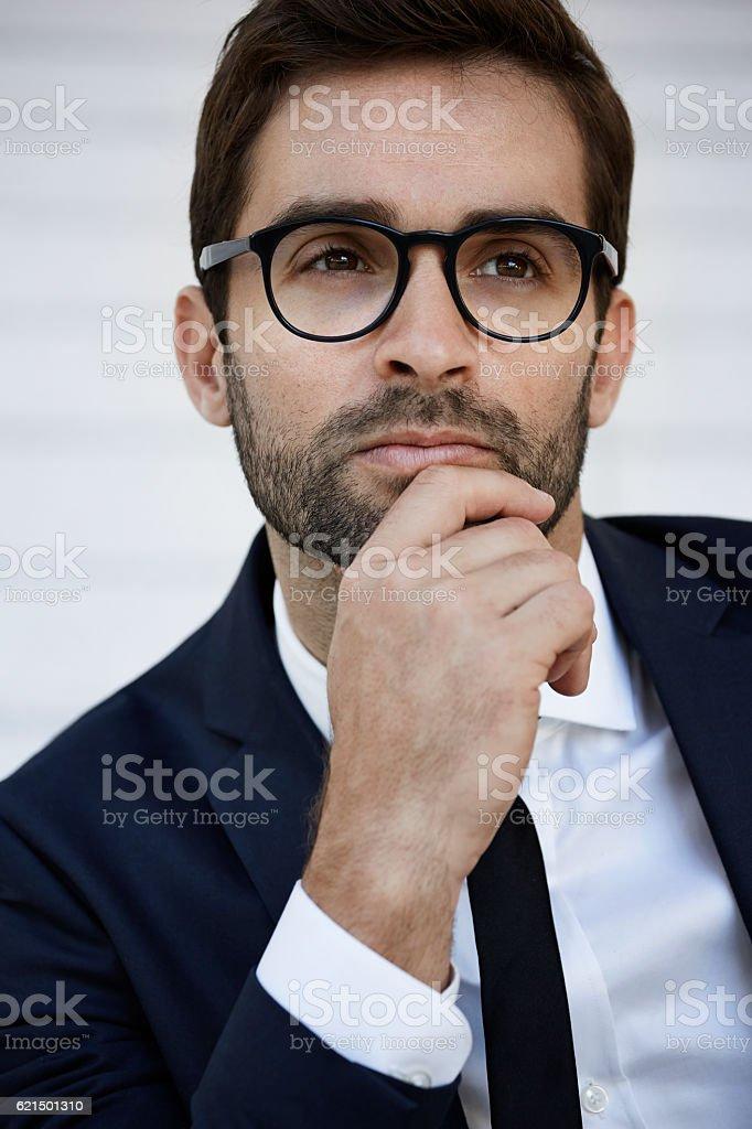 Businessman thinking deeply, close up photo libre de droits
