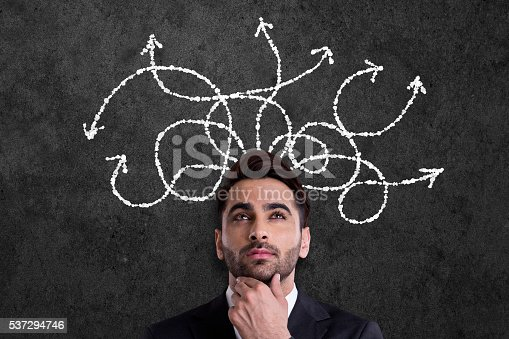 istock Businessman thinking with arrows coming from his head 537294746