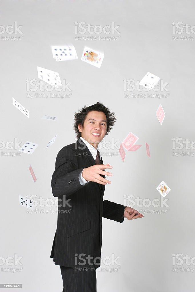 Businessman throw cards royalty-free stock photo