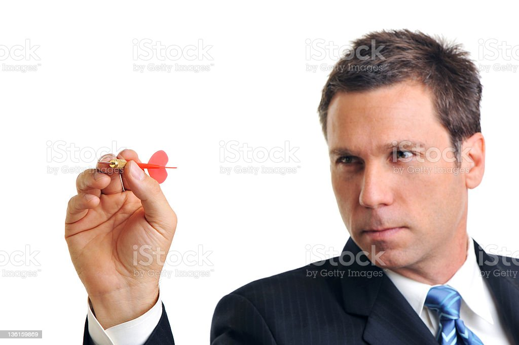 Businessman Throwing Dart Isolated on White Background royalty-free stock photo