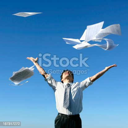 157312920 istock photo Businessman throwing papers 157317272
