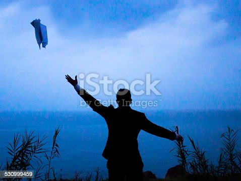 157312920 istock photo Businessman throwing papers 530999459