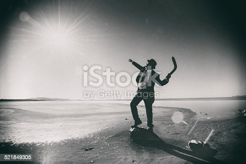 Businessman Tossing a Boomerang to the Sun. Investment and gain concept.