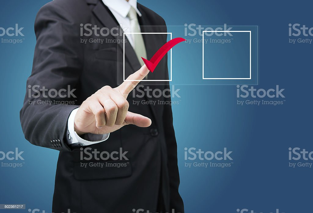businessman touch checking mark checklist marker Isolated stock photo