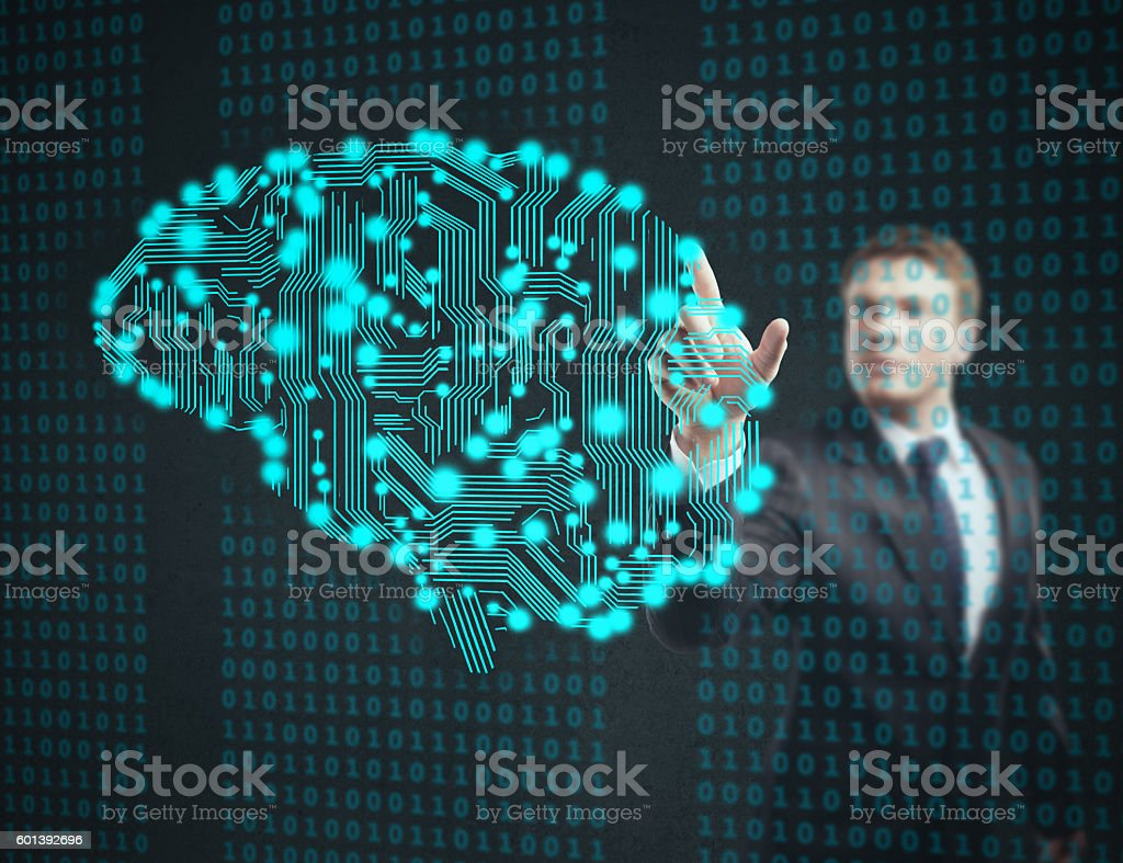 businessman touch circuit board stock photo