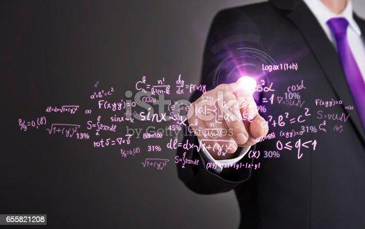 istock Businessman touch screen concept - Mathematics Chart 655821208