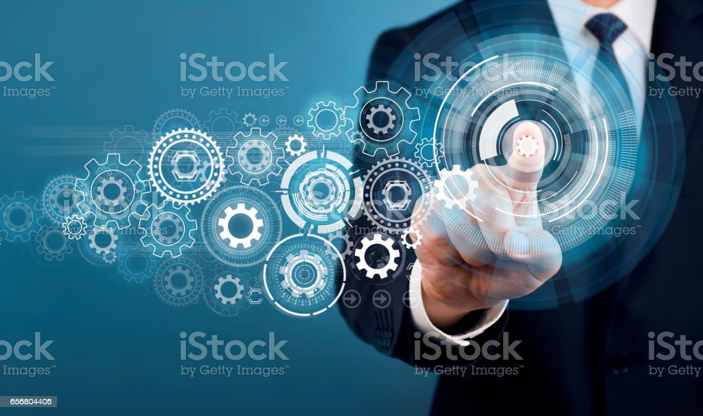 Businessman Touch Screen Concept stock photo