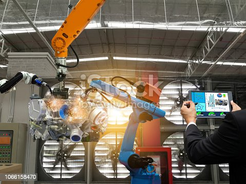 1022530836 istock photo Businessman touch screen control robot the production of factory parts engine manufacturing industry robots and mechanical arm 1066158470
