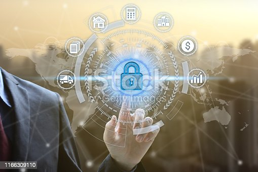 906892336 istock photo Businessman touch virtual padlock icon over the Network connection, Cyber Security Data Protection Business Technology Privacy concept 1166309110