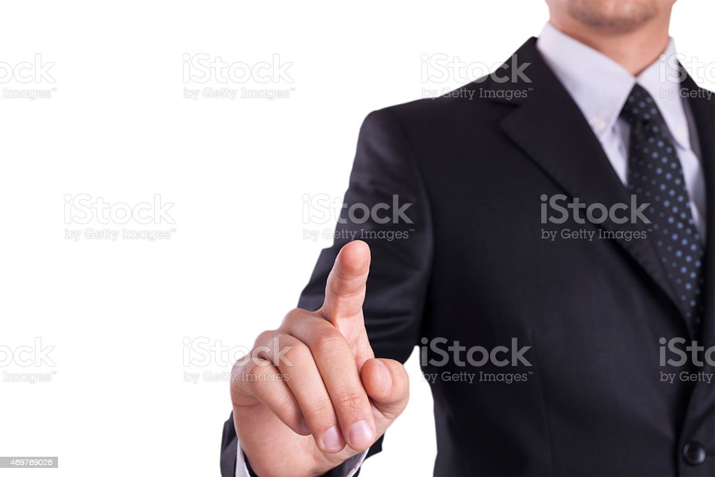 Businessman touch visual screen stock photo