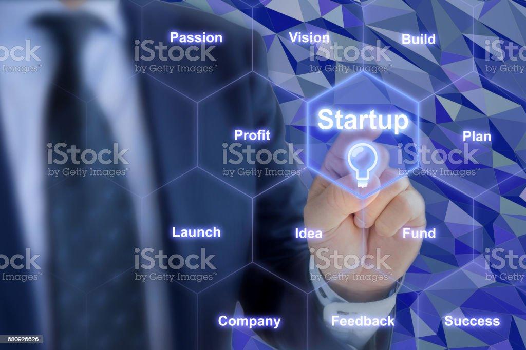 Businessman touches startup hexagon grid royalty-free stock photo