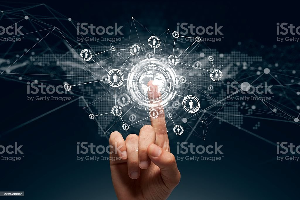 Businessman touching a global connection,communications concept stock photo