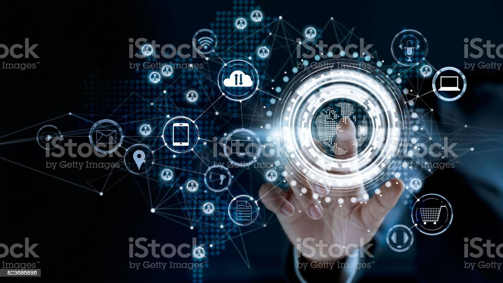 Businessman touching a global network connection, Omni Channel and communications concept stock photo